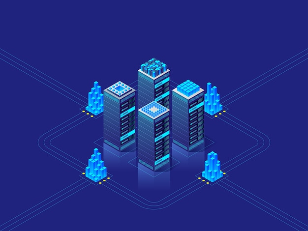 Data center concept. abstract high technology background for website, header, banner.  isometric illustration Premium Vector