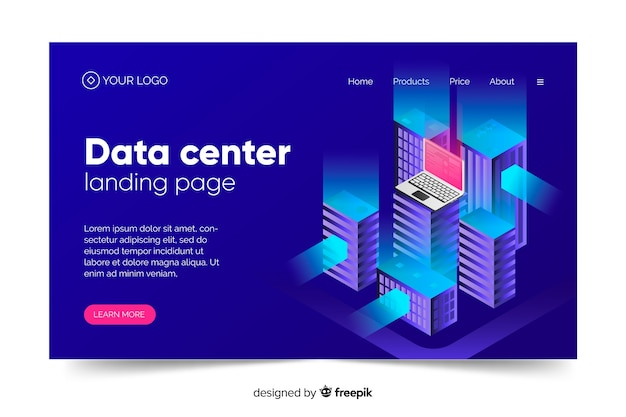Data center concept landing page in blue shades Free Vector