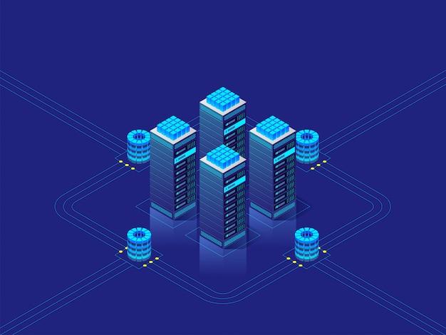 Data center concept. vector isometric illustration Premium Vector