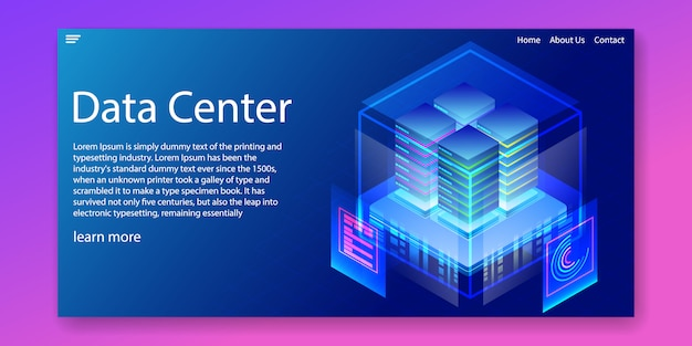 Data center enterprise hosting solutions web template Premium Vector