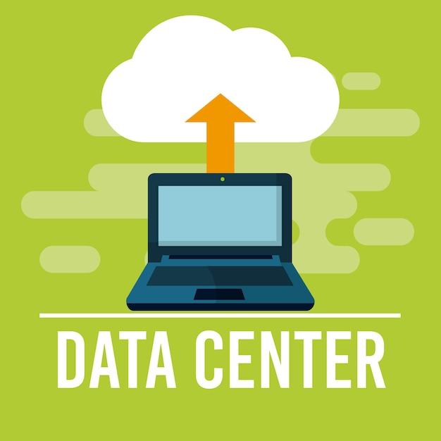 Data center fron laptop vector illustration graphic design Premium Vector