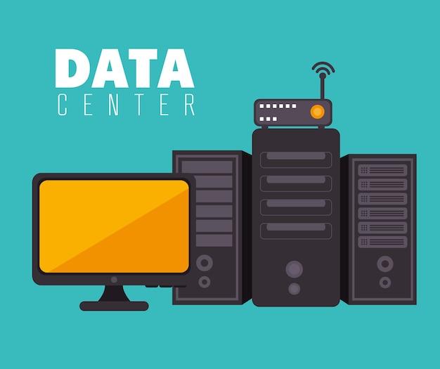 Data center and hosting Premium Vector