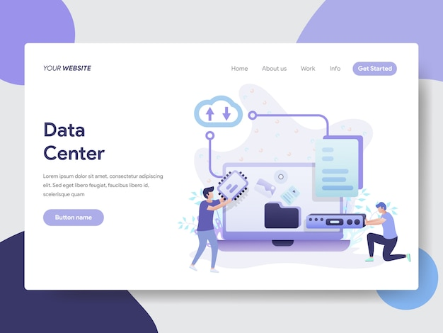Data center illustration for website page Premium Vector