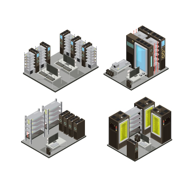 Data center isometric compositions including hosting servers for cloud services with workstation for administration isolated vector illustration Free Vector