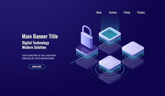 Data center, isometric icon data security concept, lock protection, technology access control Free Vector