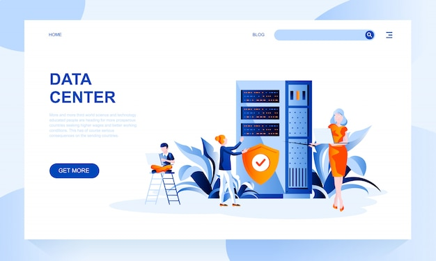 Data center landing page template with header Premium Vector