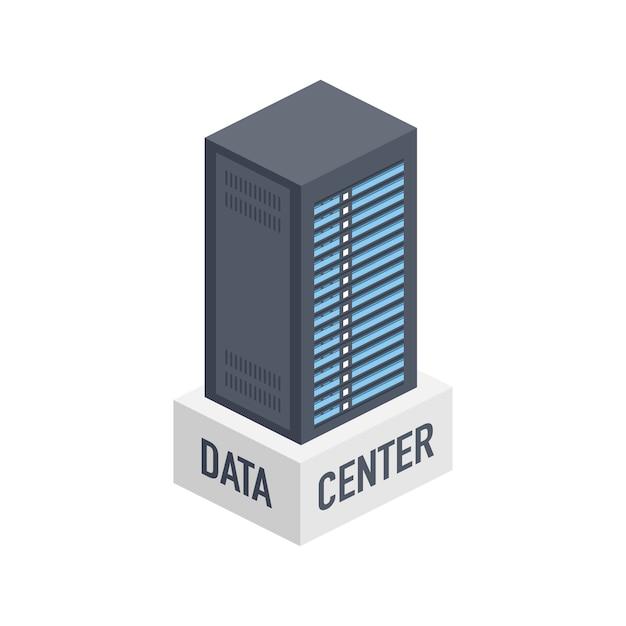 Data center. mainframe service  banner, server rack. server room concept, data bank center.  illustration. Premium Vector