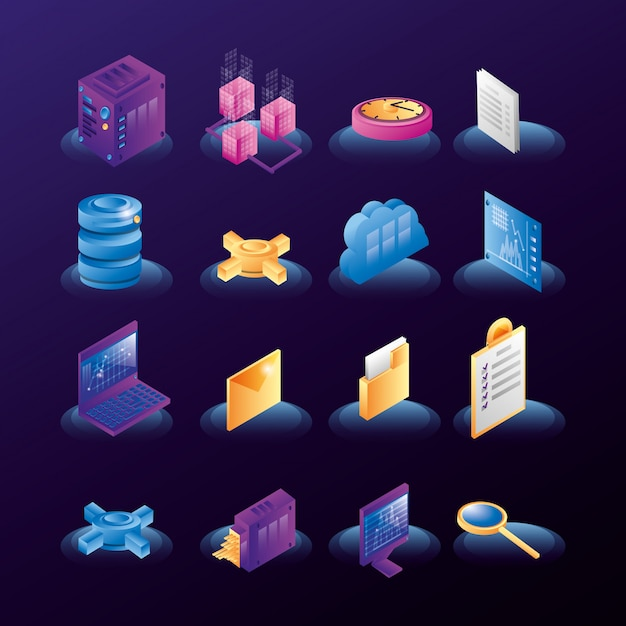 Data center network icons Premium Vector