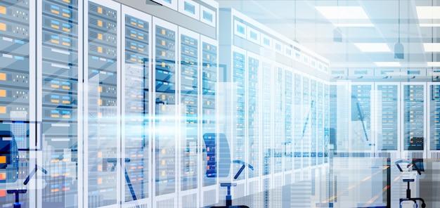 Data center room hosting server computer information database synchronize technology Premium Vector