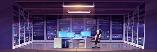 Data center room with server hardware Free Vector