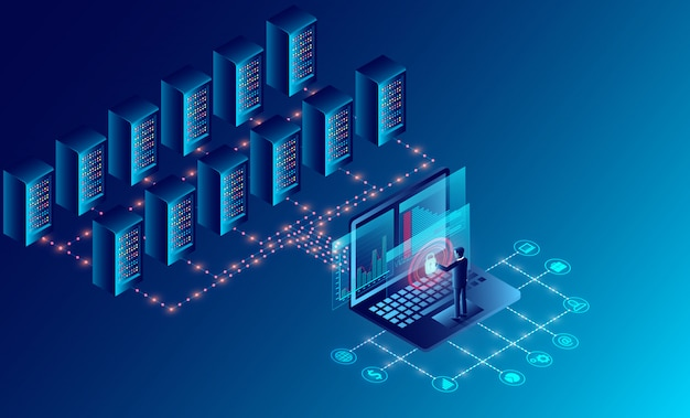 Data center server room cloud storage technology and big data processing protecting data security concept. isometric Premium Vector