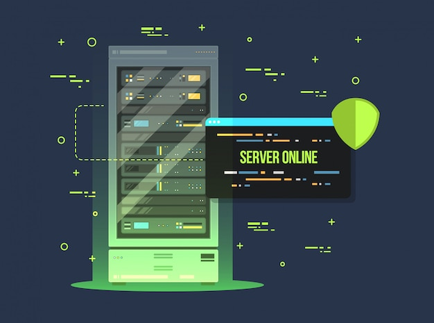 Data center and server room. data storage and exchange service flat illustration. cloud service equipment with control panel. Premium Vector