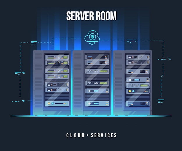 Data center and server room. data storage and exchange service flat illustration. cloud service equipment with hud elements. Premium Vector