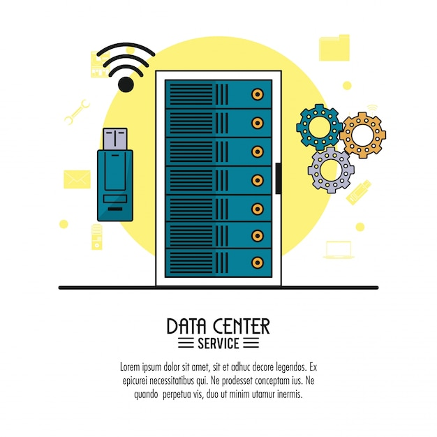 Data center service with rack server and usb memory and tools Premium Vector