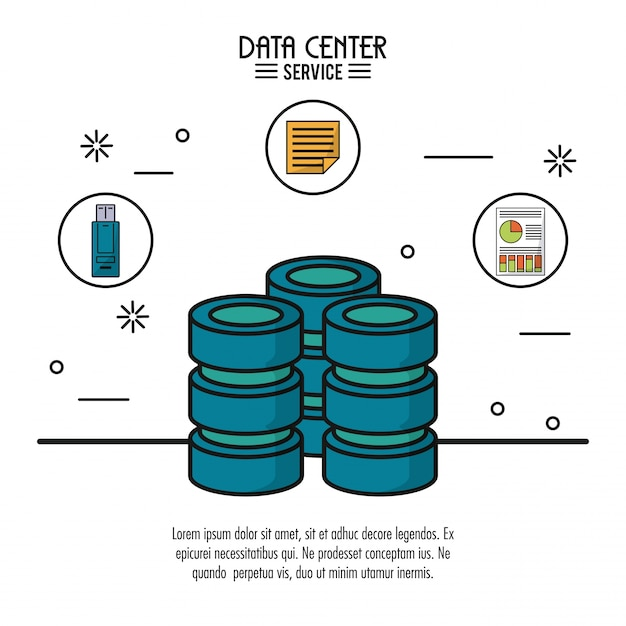 Data center service with server and usb memory file and storage info Premium Vector