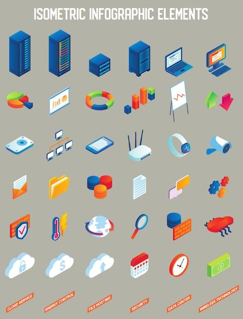Data center vector isometric infographic elements Premium Vector