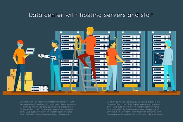 Data center with hosting servers and staff. computer technology, network and database, internet center, communication security room Free Vector