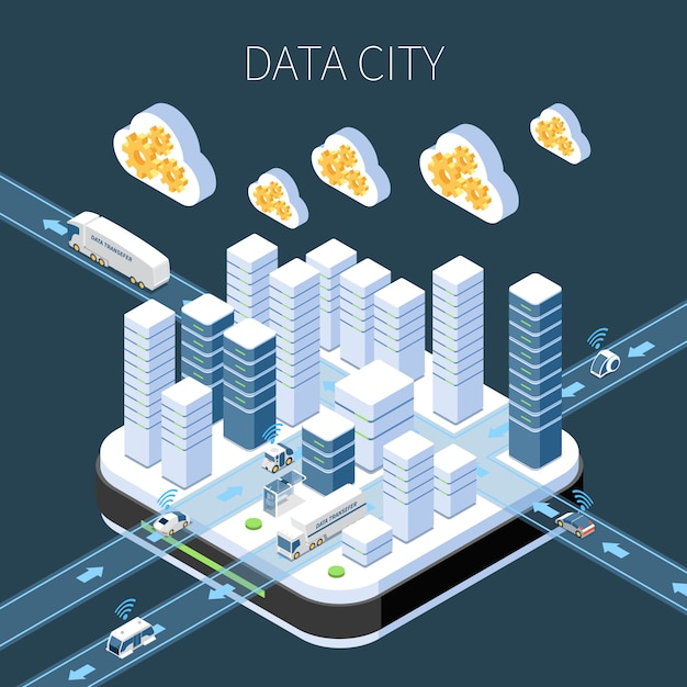 Data city isometric composition with cloud services server infrastructure and information transfer on dark Free Vector