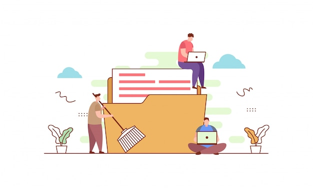 Data cleansing in flat style Premium Vector