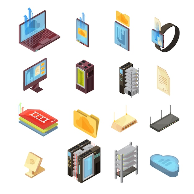Data cloud isometric set with files, transfer information, computer and mobile devices, server, router isolated vector illustrations Free Vector