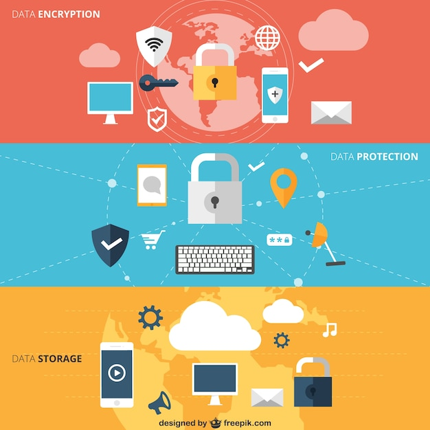 Data encryption banners Free Vector