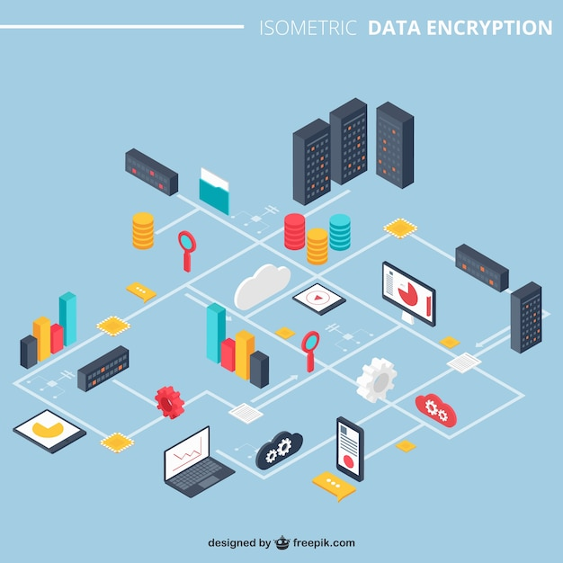 Data encryption Free Vector
