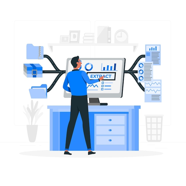 Data extraction concept illustration Free Vector