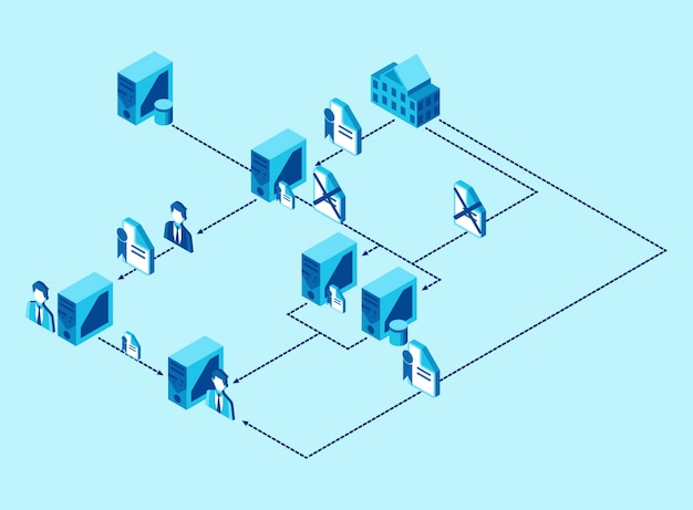 Data and files distribution from a computer unit to another in agency - isometric illustration Premium Vector