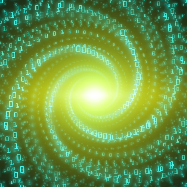 Data flow background. green big data flow as binary numbers strings twisted in infinity tunnel Free Vector