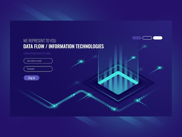 Data flow concept, information technologies, concept of hi tech Free Vector