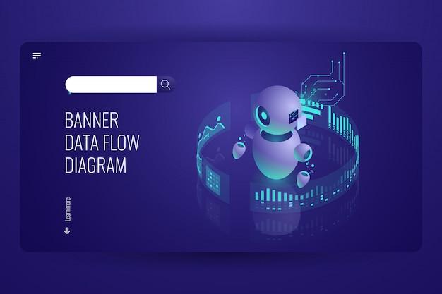 Диаграмма потока данных, бизнес-помощник и поддержка, автоматическая обработка данных, искусственный интеллект Бесплатные векторы