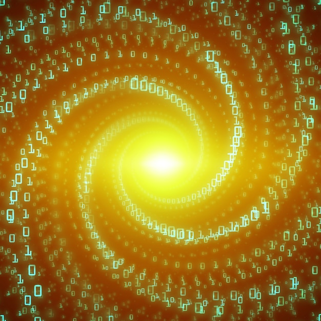 Data flow visualization. green big data flow as binary numbers strings twisted in infinity tunnel. information code stream representation. cryptographic analysis. bitcoin blockchain transfer. Free Vector