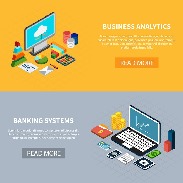 Data isometric banners set Free Vector