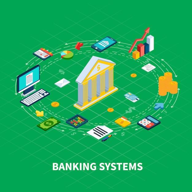 Composizione rotonda isometrica dei dati di elementi dell'organizzatore e icone dei soldi con l'elettronica del computer e la facciata della banca Vettore gratuito