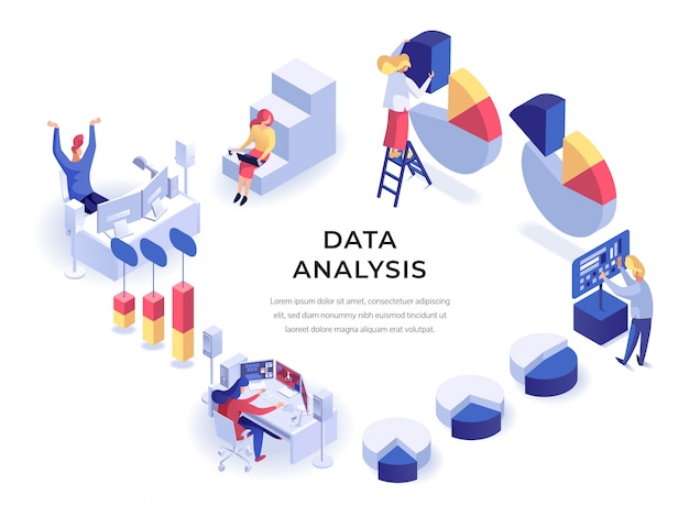 Data isometric Premium Vector