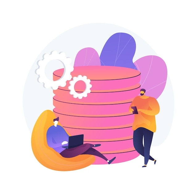 Data management. collective database tower. people share commonplace. centralized mainframe, widespread info, stored files. custom regulation. vector isolated concept metaphor illustration. Free Vector