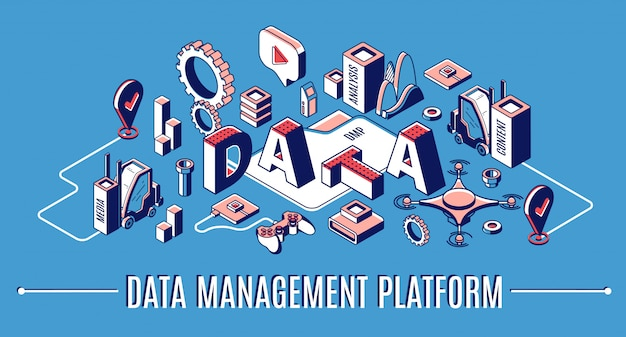 Data management platform, dmp isometric infographic banner, business analytics finance statistics Free Vector