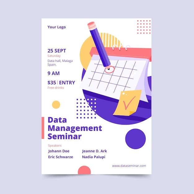 Data management seminar flyer template Free Vector