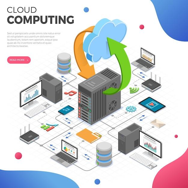 Data network cloud computing technology isometric business concept Premium Vector