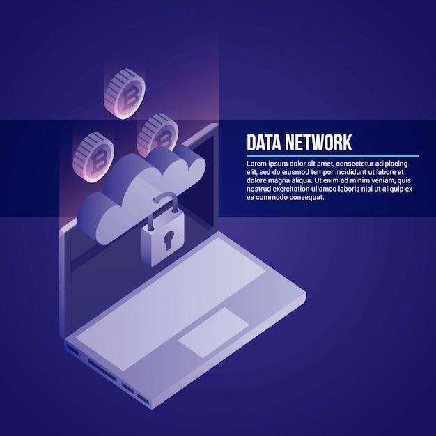 Data network illustration Free Vector