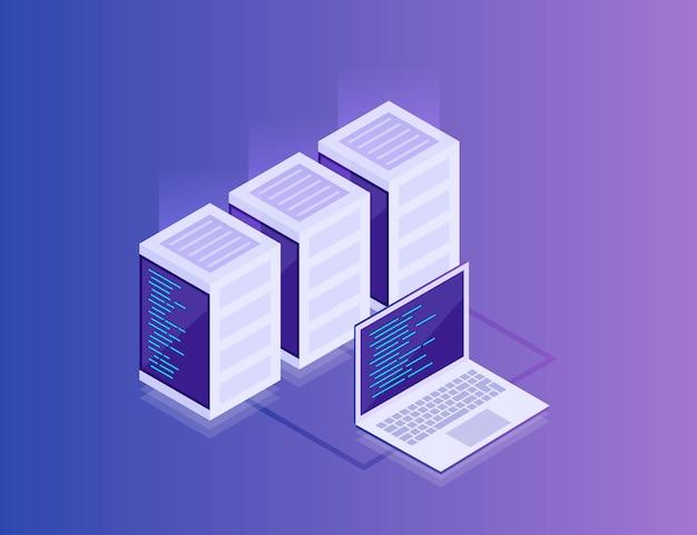 データネットワーク管理。ビジネスネットワークサーバーとラップトップの等尺性マップ。クラウドストレージデータと同期デバイス。3dアイソメ図スタイル。現代の小話 Premiumベクター