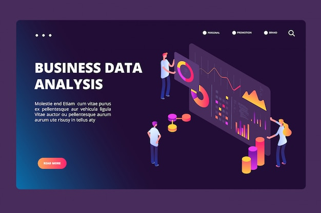 Data optimization isometric concept. person with analysis analytics chart. business technology, market positioning vector landing page Premium Vector