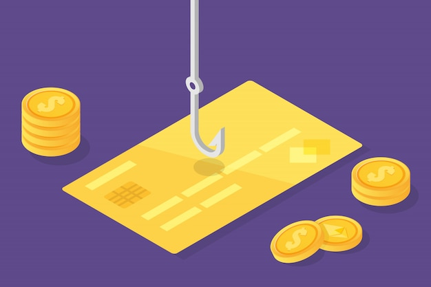 Data phishing isometric, hacking online scam. fishing by email, credit card and fishing hook. cyber thief. vector illustration. Premium Vector