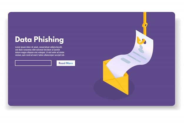 Data phishing isometric, hacking online scam. fishing by email, envelope and fishing hook. cyber thief. vector illustration. Premium Vector