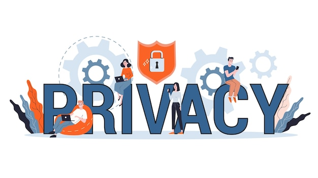 Data privacy concept. idea of safety and protection while using internet for communication. firewall, lock and information security. computer guard.  illustration Premium Vector