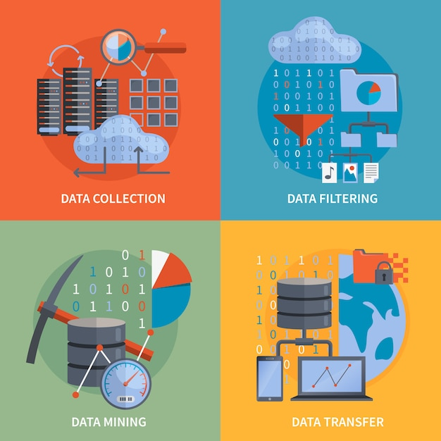 Data processing 2x2 concept Free Vector