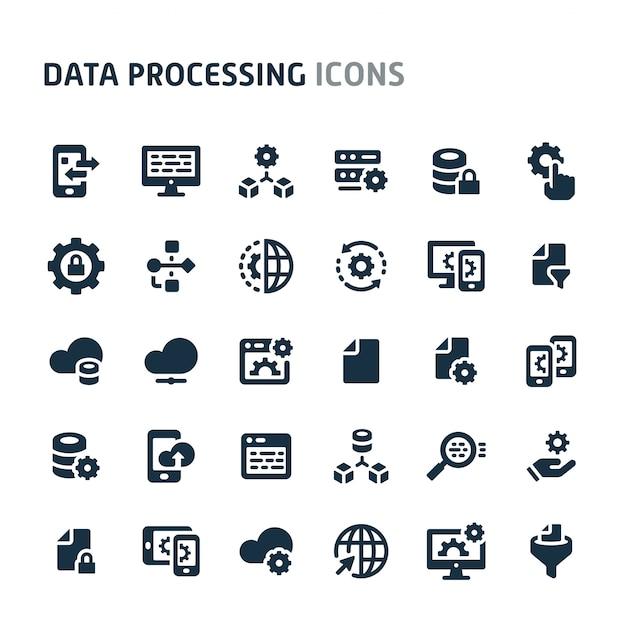Data processing icon set. fillio black icon series. Premium Vector