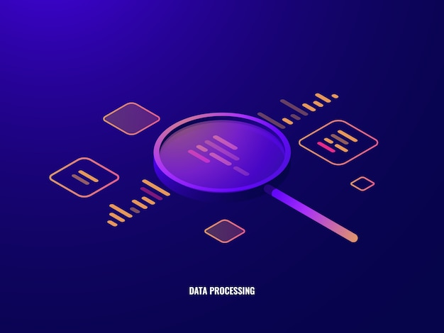 Data processing isometric icon, business analytics and statistics, magnifying glass Free Vector