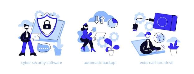 Набор иллюстраций абстрактной концепции защиты и восстановления данных Premium векторы