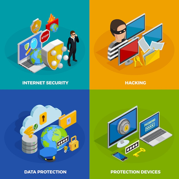 Data protection concept icons set Free Vector